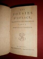 Les poésies d'Horace Edition Metz chez Collignon 2 tomes français et latin