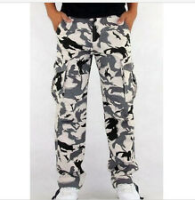 Hombre Informal Militar Blanco Camuflaje Cargo Militar Trabajo Pantalones
