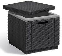 Allibert by Keter Rattan Ice Cooler Bucket Box Outdoor Garden Furniture Graphite