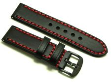 24mm Black/Red Quality Leather Replacement Watch Band Black Buckle - Nixon 24 mm