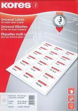 Kores® Universal Etiketten weiß A4 selbstklebend 100 Blatt Inkjet Laser Kopierer