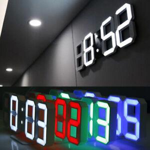 USB Modern Digital 3D LED Wall Clocks Alarm Snooze 12/24 Hour Display Home Decor