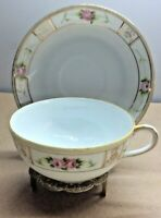 Vintage Tea Cup & Saucer Hand Painted Nippon MIlk White & Pink Roses