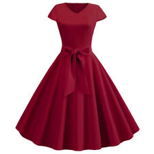 Women Vintage 50S Swing Dress Party Cocktail Pinup Midi Dress Prom Cap Sleeve