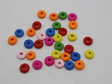 500 Mixed Bright Candy Color 8X4mm Flat Round Wood Beads Wooden Spacer
