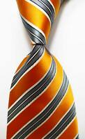 New Classic Striped Orange White Gray JACQUARD WOVEN 100% Silk Men's Tie Necktie
