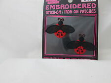 Iron on or Stick on Embroidered Applique - 2 Flying Ladybug