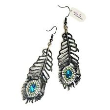 Peacock Feather Vintage Retro 1920s Large Eye Dangle Earring Crystal 35-30VC-ZCX