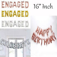 "16"" 3D Foil Number Balloon banner - CELEBRATE / ENGAGE  & HAPPY BIRTHDAY - PARTY"