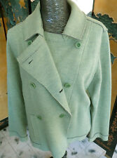 Stunning  EILEEN FISHER Green Notch Collar Wool Blazer / Jacket  - Size L