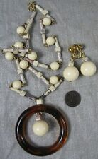 Vintage Plastic Cream & Amber Earring & Necklace Set 24""