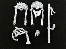 Tomb Kings : Egyptian Style Skeleton Command Head / Standard Banners / Horn (5)