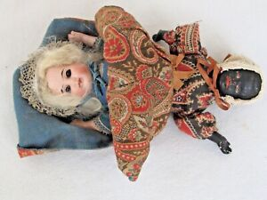 """Antique """"Topsy-Turvy"""" Dolls Bisque and Composition c. 1900"""