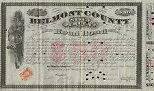 USA BELMONT COUNTY ROAD BOND stock certificate 1869 OHIO