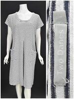 Womens Two Danes Hemp Cotton Tunic Dress Striped White Pocket Summer Size L