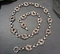 Schönes 835 Silber Collier Kette Jugendstil Art Deco Floral Verschnörkelt Tracht