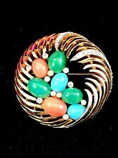 RARE 1960'S CROWN TRIFARI INDIA MOGHUL MULTICOLORED CABOCHON OPEN WORK BROOCH