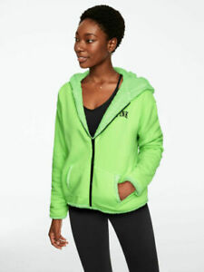 Victoria's Secret PINK Sherpa Green Full Zip Hoodie Jacket Reversible Small NWT
