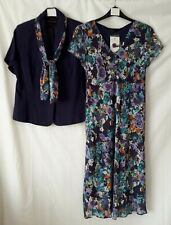 Hudson & Onslow Dress Suit Special Occasion/Mother Of Bride - Navy Floral -Sz 12