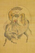 """JAPANESE PAINTING Hanging Scroll 65"""" Daikokusama Cow Japan Antique VINTAGE b674"""