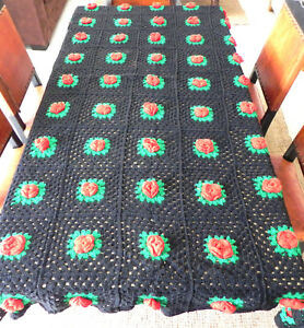 """Hand Crocheted Afghan Black/Red/Green 3D Floral Granny Square Size 99""""x 61"""""""