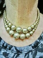 Vintage 1950's Double Strand Gold Tone Metal Bead Necklace