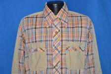 vintage 70s Nwt David Martin Orange Brown Plaid Deadstock Big Collar Shirt Lrg L