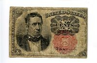 Fifth 5th Issue 10C Ten Cent Fractional Currency Red 1874 Creases Holes AA0943
