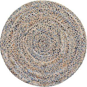 Rug Natural Denim Jute Style Braided Rug Reversible Rustic Modern Look Rugs