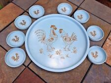 Vintage Marcelline 1950's Tole Painted Rooster Hen Serving Tray + 8 Coasters ❤️8