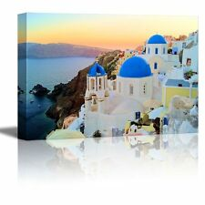 "Canvas Prints- Sunset View of the Blue Dome Churches of Santorini- 24"" x 36"""