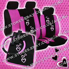 16 Pcs Pink Hearts Black Car Seat Covers Mats Steering Wheel Cover Harness Pads