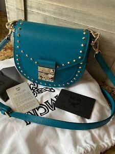 NWT $1175 MCM  Patricia Visetos  Leather Top Handle Bag Deep Lake