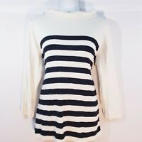 Women's Ann Taylor LOFT Ivory Black Long Sleeve Striped Sweater Size Large