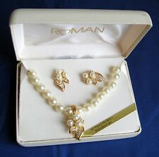 "VTG ROMAN Necklace & Earrings In Box 18"" Pearl Necklace Enhancer Set   B4"