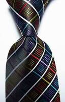 New Classic Checks Black White Red Blue JACQUARD WOVEN Silk Men's Tie Necktie