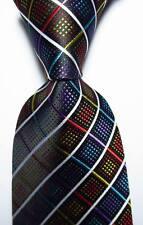 New Classic Checks Black White Red Blue JACQUARD WOVEN Silk Men's Tie Necktie