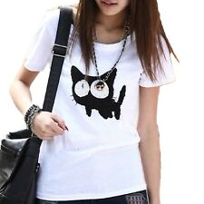 Ladies T shirt Blouse Cat print Fitted New Kitty Cute Winter Top UK Size 8 10 12