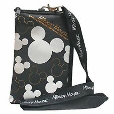 Disney Mickey Mouse Black SilverLanyard Cell Phone ID Holder Case Coin Badge