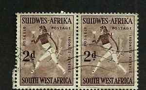 SOUTH WEST AFRICA ISSUE - USED PAIR 1954 CAVE DRAWINGS DEFINITIVE STAMPS