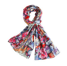Lighttweigt Cotton Oblong Scarf, Abstract Print Cotton Scarf, Fall Color Scarf