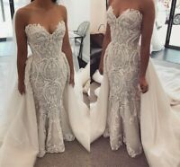Wedding Dresses Detachable Train Skirt Bridal Gowns Size 0 4 6 8 10 12 14 16 18