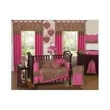 Crib Bedding Set 9Pc Baby Girl Pink Cheetah Nursery Curtains Blanket Bumper