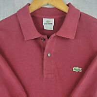 LACOSTE Size 7 XL Mens Deep Red Polo Shirt Short Sleeve Pique Pima Cotton Golf