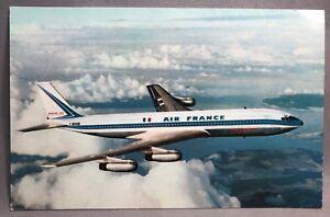 AIR FRANCE Airplane BOEING 707 Intercontinental Jet Airliner Vintage Postcard