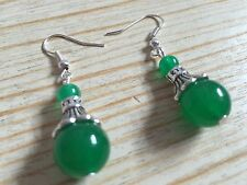 Green Jade Tibetan Silver Hook Drop Earrings, Girlfriend Wife Birthday Present
