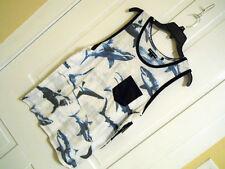 Men's Shark Pocket Sleeveless Muscle Shirt Tank Top Ocean Current Sz Small White