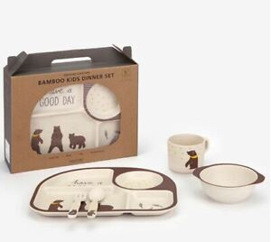 Bamboo Grizzly Bear Kids Dinner Set Eco Friendly BPA Free Food Tray Bowl Cup Set