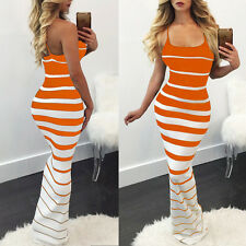 Womens Striped Summer Beach Sundress Boho Evening Party Cocktail Long Maxi Dress