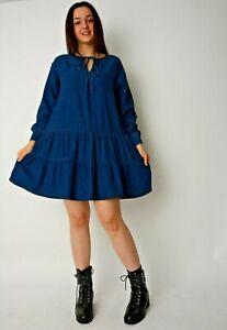 New Ex Dorothy Perkins Dark Blue Chambray Denim Tiered Smock Dress Size 8-18